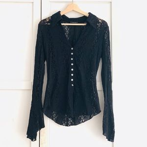 Vintage black lace bebe button-up w/ flared sleeve